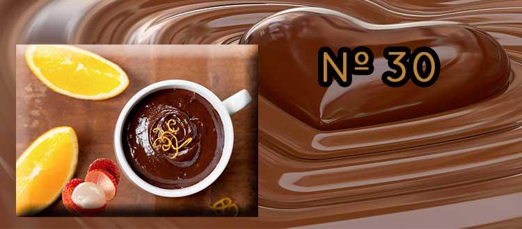 Receta de chocolate a la taza con litchi y naranja