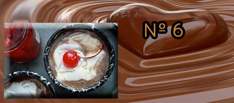 Receta de chocolate a la taza con cereza en almibar
